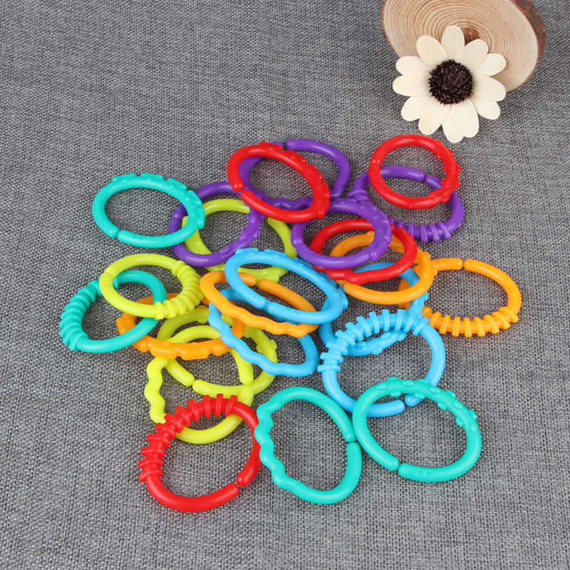 24Pcs Baby Teething Ring Colorful Rainbow Rings Stroller Gift Decoration Toys