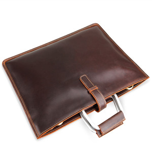 Image 5 - High Grade Vintage Crazy Horse Leather Document Bag Fashion Horizontal A4 Men Handbag Genuine Leather Thin Briefcase