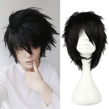 Anime Death Note L Cos Wig Mens L.Lawliet 짧은 검정 내열성 머리카락 Pelucas Cosplay Costume 가발 + 가발 모자