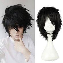 Anime Death Note L Cos peruka męskie L.Lawliet krótki czarny odporne na ciepło włosy Pelucas przebranie na karnawał peruki + czapka z peruką