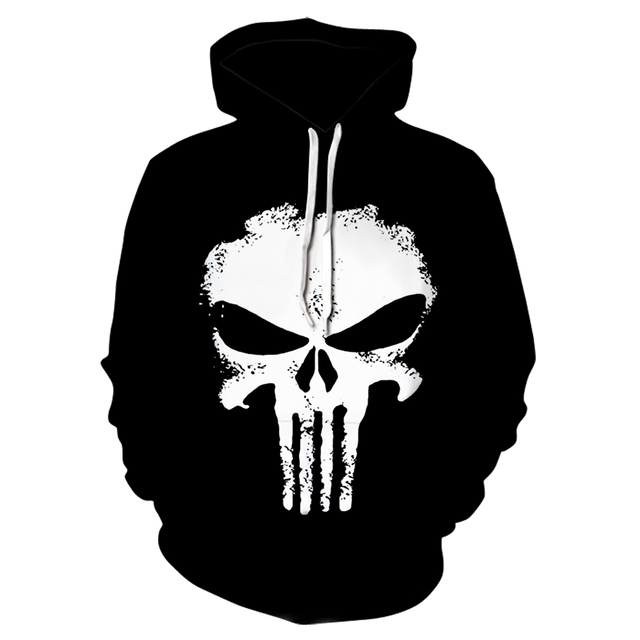 2018 black 3d Skull Hoodies Men/Women Fashion Winter Spring Sportswear Hip Hop Tracksuit Brand Hoodie Sweatshirt