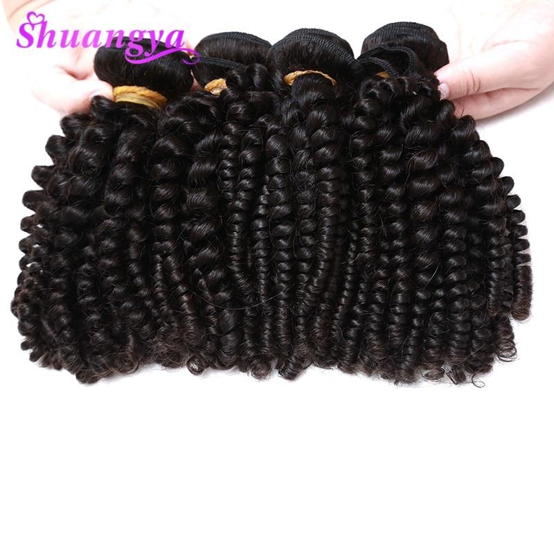 Peruvian Bouncy Curly Hair Weaves 100% Human Hair Bundles 4 Bundles Funmi Hair Can Be Dyed And Bleached Shuangya Remy Hair