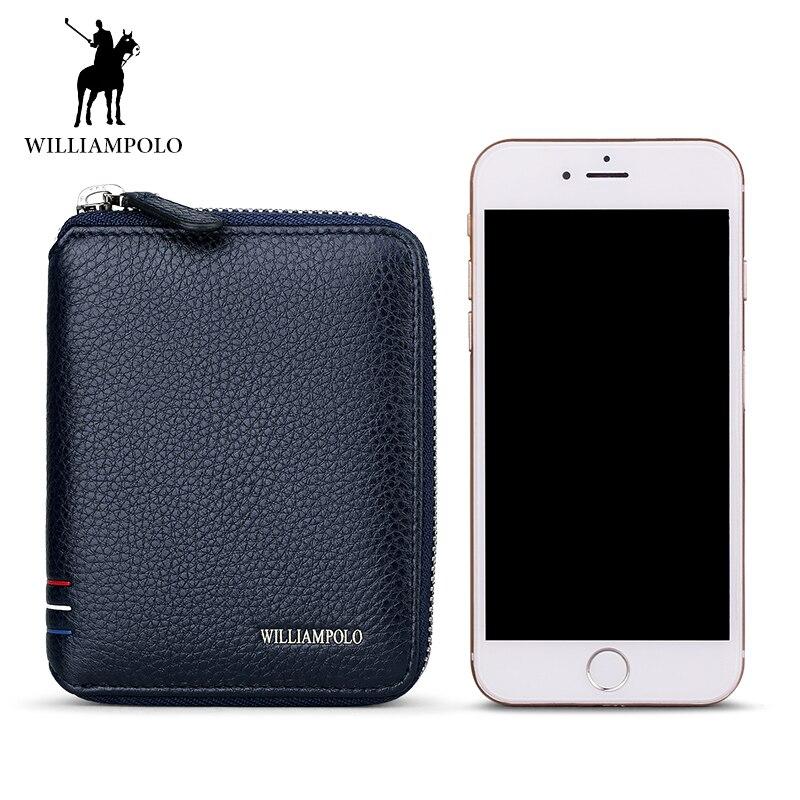 WILLIAMPOLO célèbre marque Design en cuir véritable hommes Mini portefeuille court porte-carte homme petite note mâle porte-clé