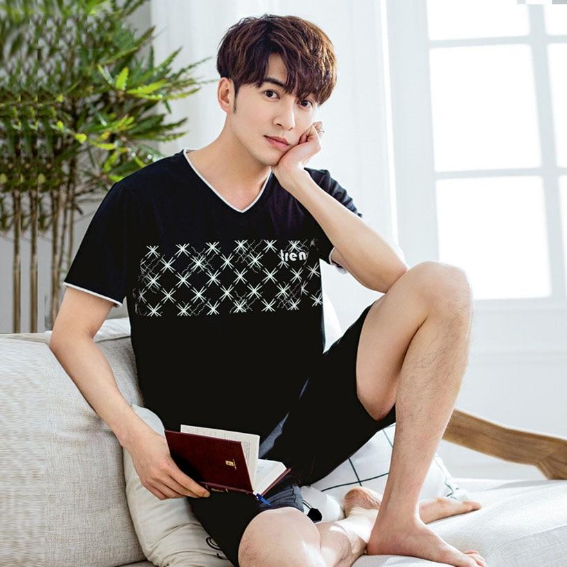 Pajamas-Sets Man Sleepwear Short-Sleeve Homewear-Size Male Summer Modal Letter For L-XXXXL
