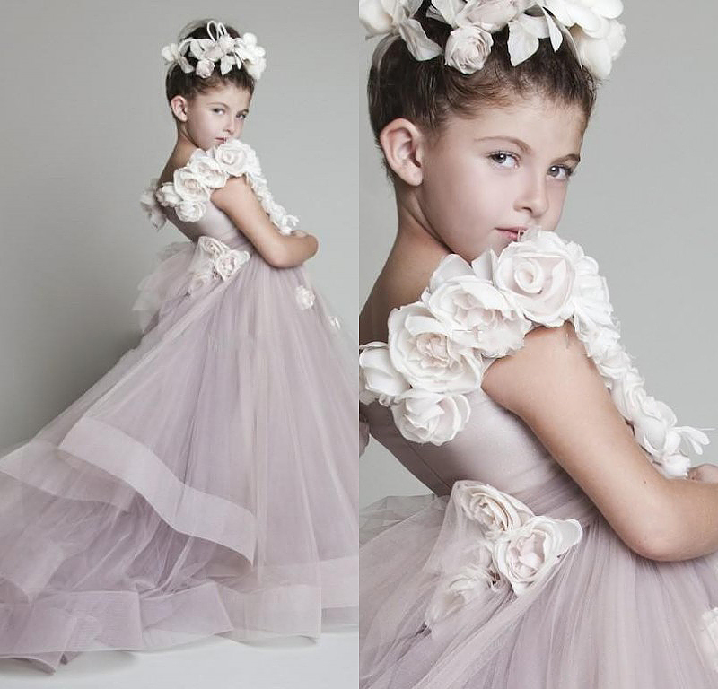 Vestido Daminha Casamento 2015 Free Shipping Ball Gown Prom   Dress   Children Light Purple   Flower     Girl     Dresses   with the Trains