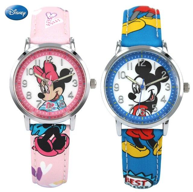 de4ccbf937c Mickey Mouse Relógio de Pulso de Quartzo de Couro Juventude Adolescente  Estudante Homens Clássico Da Moda