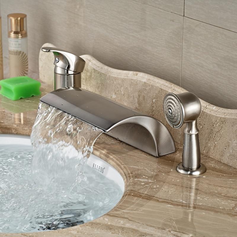 luxury deck mount waterfall widepsread roman tub faucet single handle 3pcs bathtub mixer tap with handshower