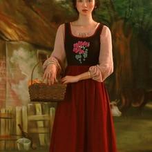 Женское весенне-осеннее винтажное французское винтажное длинное платье в пасторальном стиле с вышивкой, Длинный жилет, Ретро платье, vestidos mujer