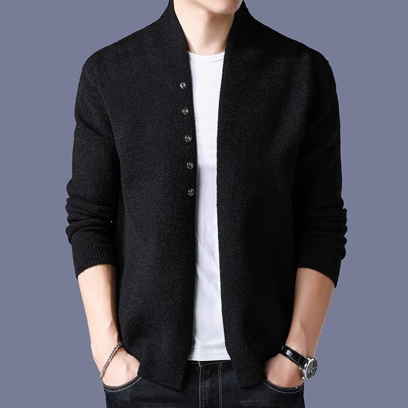 MRMT 2019 nouvelle marque hiver hommes vestes Cardigan jeunesse mince pour homme couleur unie chandail tricoté veste