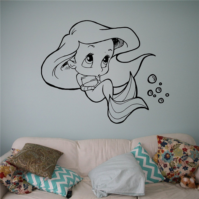 Little Mermaid Vinyl Decal Princess Ariel Wall Sticker Cartoons Home Interior Children S Nursery Room Decor