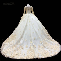 New Arrival Ball Gown Long Sleeves Wedding Dress 2018 Bridal Gown Flower Pearls Court Train Illusion Back Romantic Bride Dress