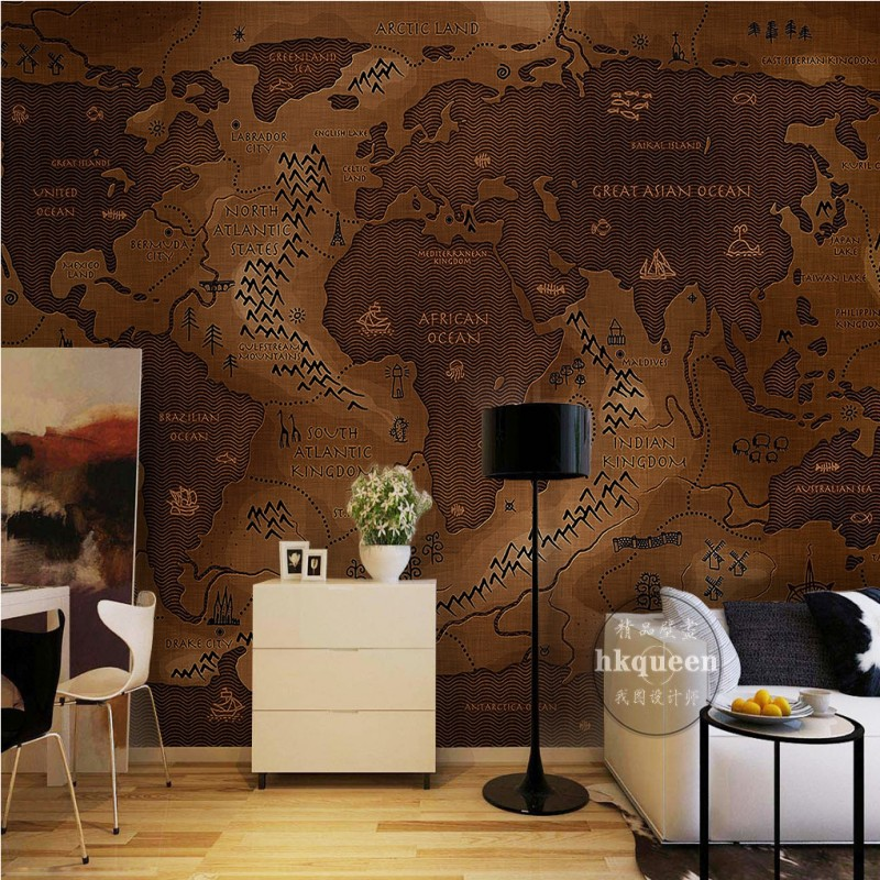 Free Shipping European style hand painted world map navigation route wallpaper stereo bedroom living room mural