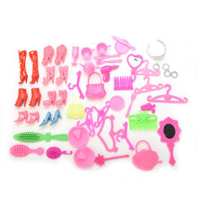 1 Set 50/10/1Pc Blister Toy for Barbie Doll Shoes Fashion Cute Colorful Crown Necklace Comb mirror Bag Different styles Baby Toy(China)