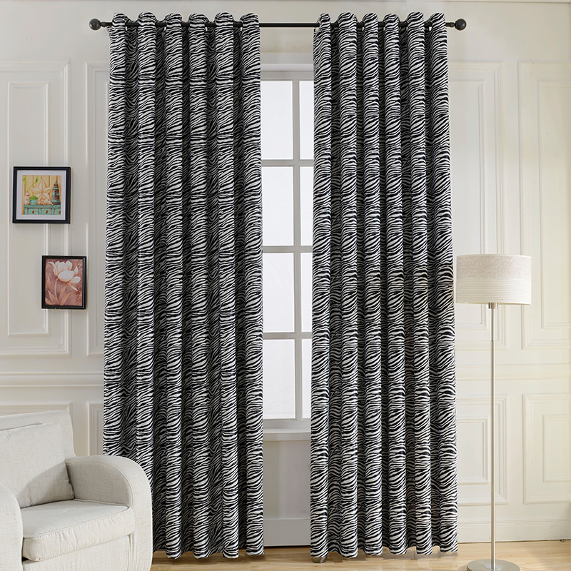 Black And White Zebra Print Curtain For Living Room Bedroom Blackout Curtains  Drapes Wide Style Animal Curtains Panel Drapery In Curtains From Home U0026  Garden ...