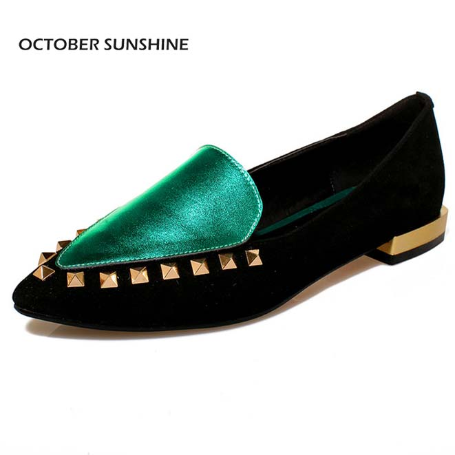 OCTOBER SUNSHINE (Red, Green) 2017 Women's Full Grain Leather Pointed Toe shoes Mixed Colors breathable Rivets Flats for women цена 2017