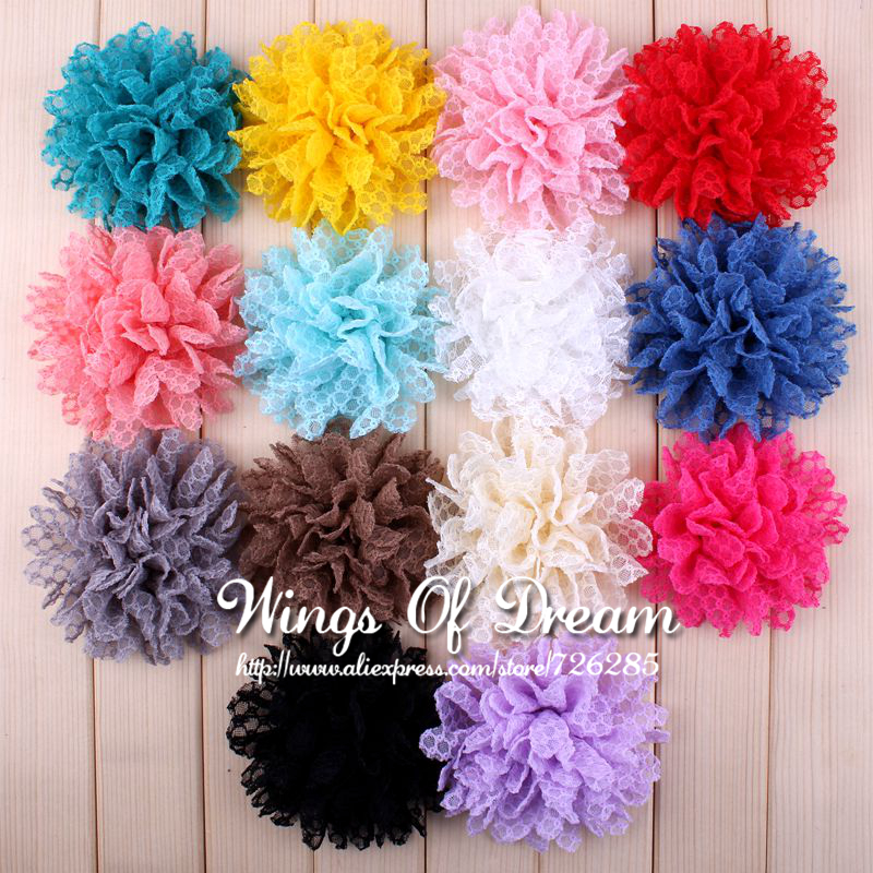 120pcs/lot 4 14 Colors Hot Sale Solid Ballerina Lace Flower For Girl Hair Accessories Artificial Fabric Flowers For Headbands 50pcs lot 4 1 17colors shabby lace mesh chiffon flower for kids girls hair accessories artificial fabric flowers for headbands