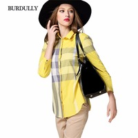 BURDULLY Plaid European Blouses Summer Ladies 2017 High Quality Blouses And Shirts Womens Cotton Clothing Tops