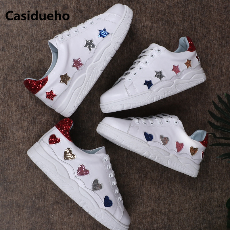 Sequins Sneakers Flats Soft Leather Shoes Woman Lace Up Round Toe Oxfords  White Runway Tenis Feminino New Zapatos Mujer 40 3ea2ddd98679