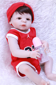 "Girl boy doll reborn 22"" full body silicone reborn baby dolls for sale can enter water toy doll gifts bebe alive reborn bonecas"