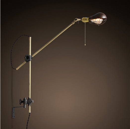 Retro Loft Style Swing Arm Edison Wall Sconce American Antique Copper Wall Lamp Vintage Wall Light