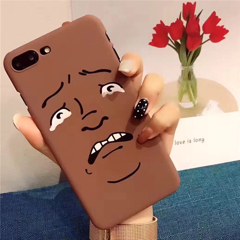Funny Cartoon Man Face Emoji Expression Cell Phone Cases For iPhone 7Plus 5 6s case Slim Thin Hard Plastic Back Cover Capa Coque