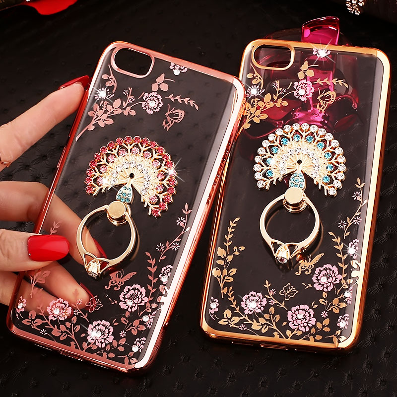 For Xiaomi Mi A3 A2 Lite Case Redmi 7A 8A Note 7 8 Pro 8T Silicone Soft TPU Flowers Ring Holder Back Cover Luxury Plating Frame