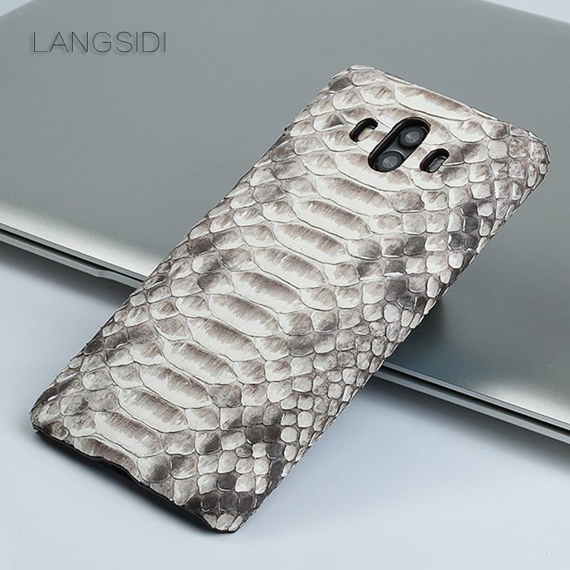 Wangcangli pour Huawei Mate 10 luxe fait à la main en peau de python véritable coque de téléphone en cuir véritable coque de téléphone - 6