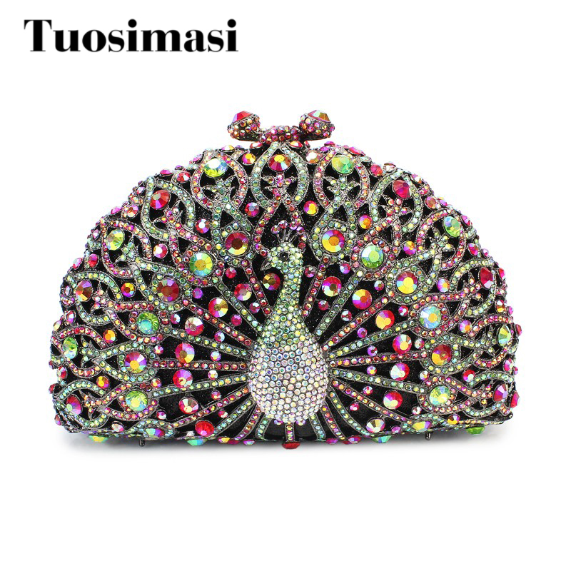 Здесь продается  top selling purplor color  peacock  crystal clutch evening bag  (8105A-GR)  Камера и Сумки