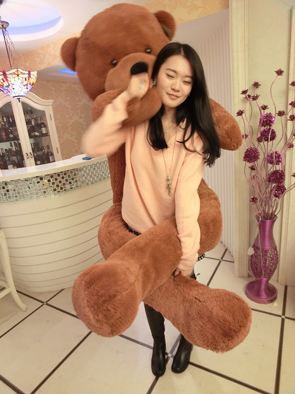 the biggest bear toy plush toy cute big eyes bow stuffed bear toy teddy bear birthday gift dark brown 200cm футболка toy machine leopard brown
