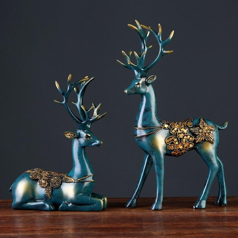 2 Pcs Resin Deer Figurine Statue European Style Home Living Room Decor Crafts Gifts Modern Abstract Sculpture Desktop Ornament