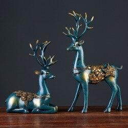 2 uds. Estatuilla de ciervo de resina estatua de estilo europeo hogar sala de estar decoración artesanías regalos escultura abstracta moderna ornamento de escritorio