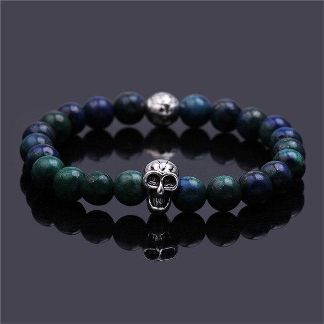 6df0b544a2c7 Pulseras verde lapis lazuli granos Del Cráneo de la pulsera elástica charm  cuerda pulsera de cadena