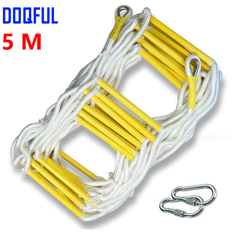 5M Rescue Rope Ladder 17FT Escape Ladder Emergency Work Safety Response Fire Rescue Rock Climbing Escape Tree fire blanket emergency survival fire shelter safety protector white 100 x 100cm