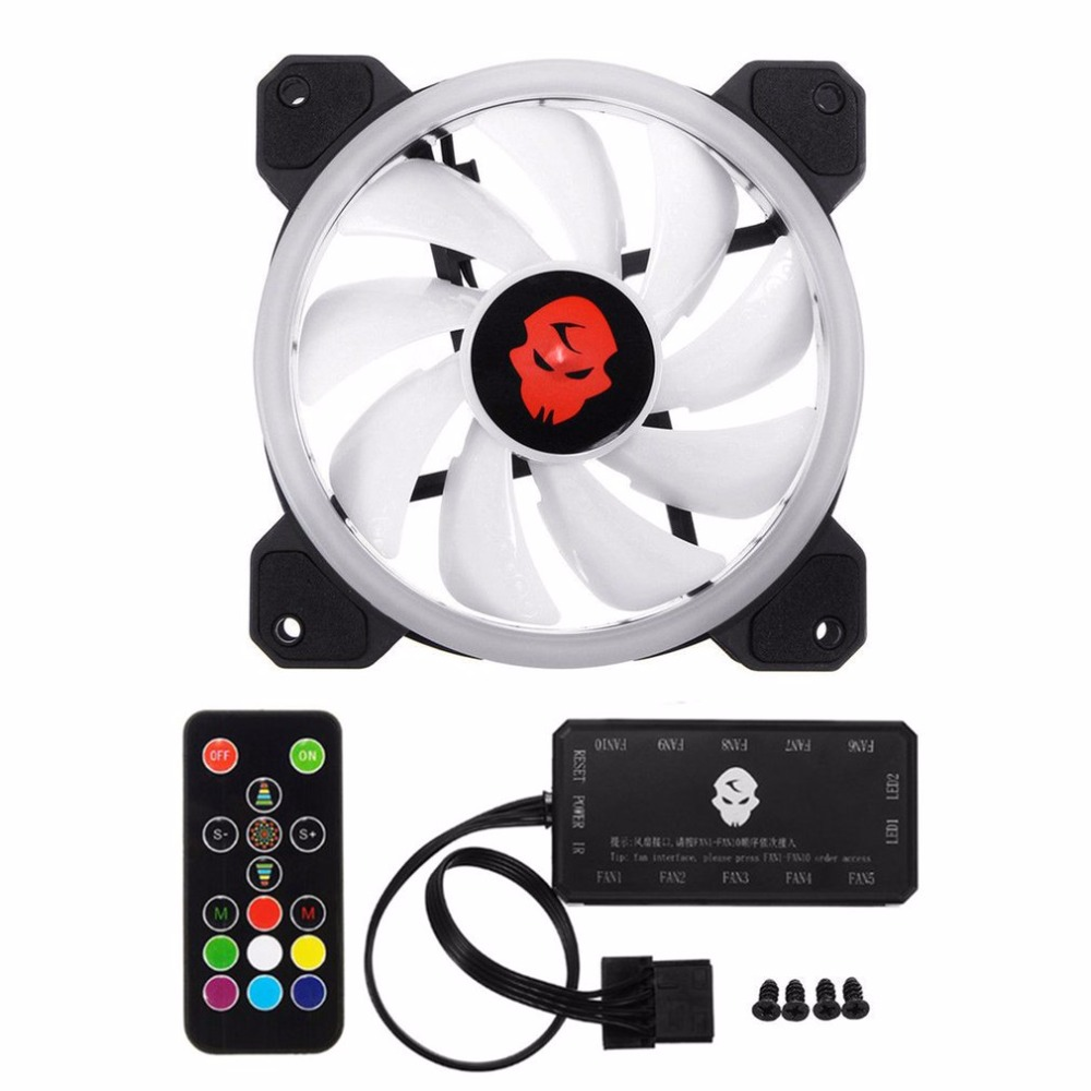 Computer PC Cooler Cooling Fan Double Ring 366 Modes 10 Level Adjust Speed RGB LED 120mm Cooling Fan For CPU High-airflow the original delta 6056 double motor 6cm high speed turbo fan violence 12v 1 92a gfc0612ds cooling fan free shipping