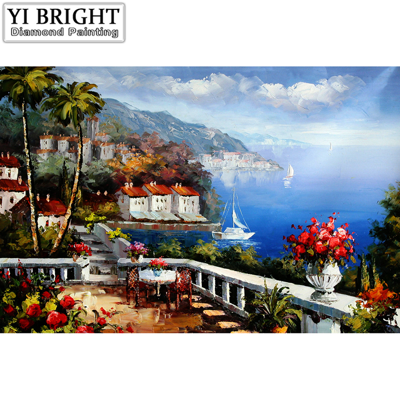 Full Animal Diamond Embroidery Sea House Art Diamond Painting Landscape Complete Stitch  ...