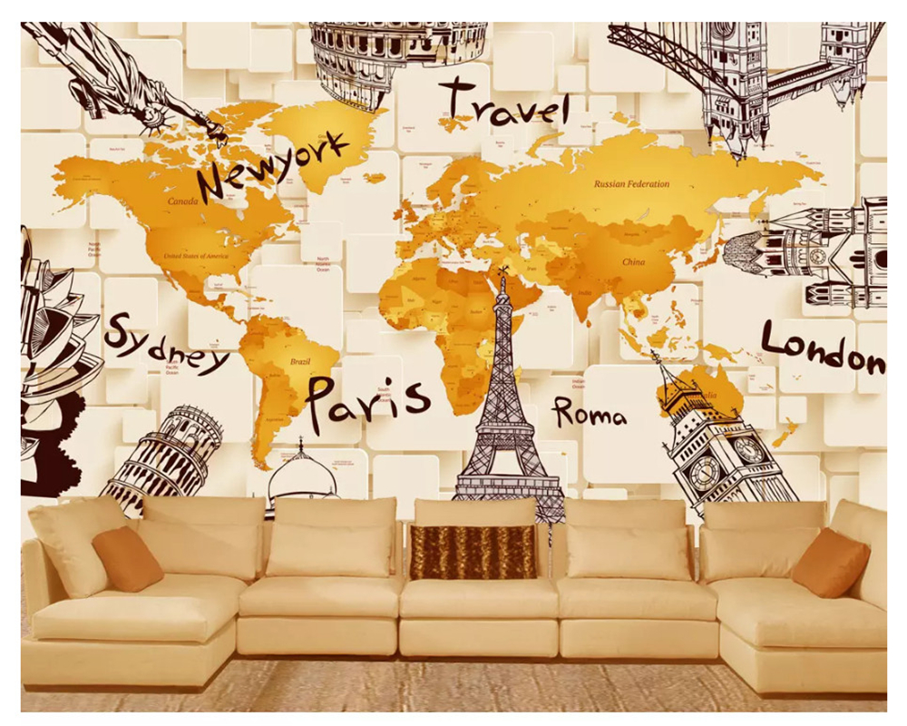 beibehang Custom creative simple wallpaper 3D architecture personality world map mural background wall wallpaper for walls 3 d free shipping personality technology world map mural wall restaurant wallpaper cafe mural bar hotel custom 3d mural best price