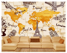 beibehang Custom creative simple wallpaper 3D architecture personality world map mural background wall for walls 3 d