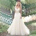 MH16784 Сексуальная V Шеи Тюль Аппликации Длинные Линии Свадебные Платья Спинки Дешевое Платье Венчания Пляжа 2017