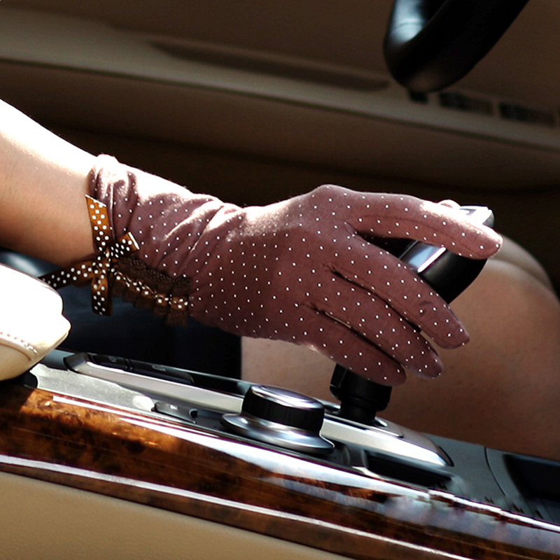 Touchscreen Women Sunscreen Gloves Female Summer Cotton Finger Embroidery Anti-UV Sun Driving Glove New Listing UV012D