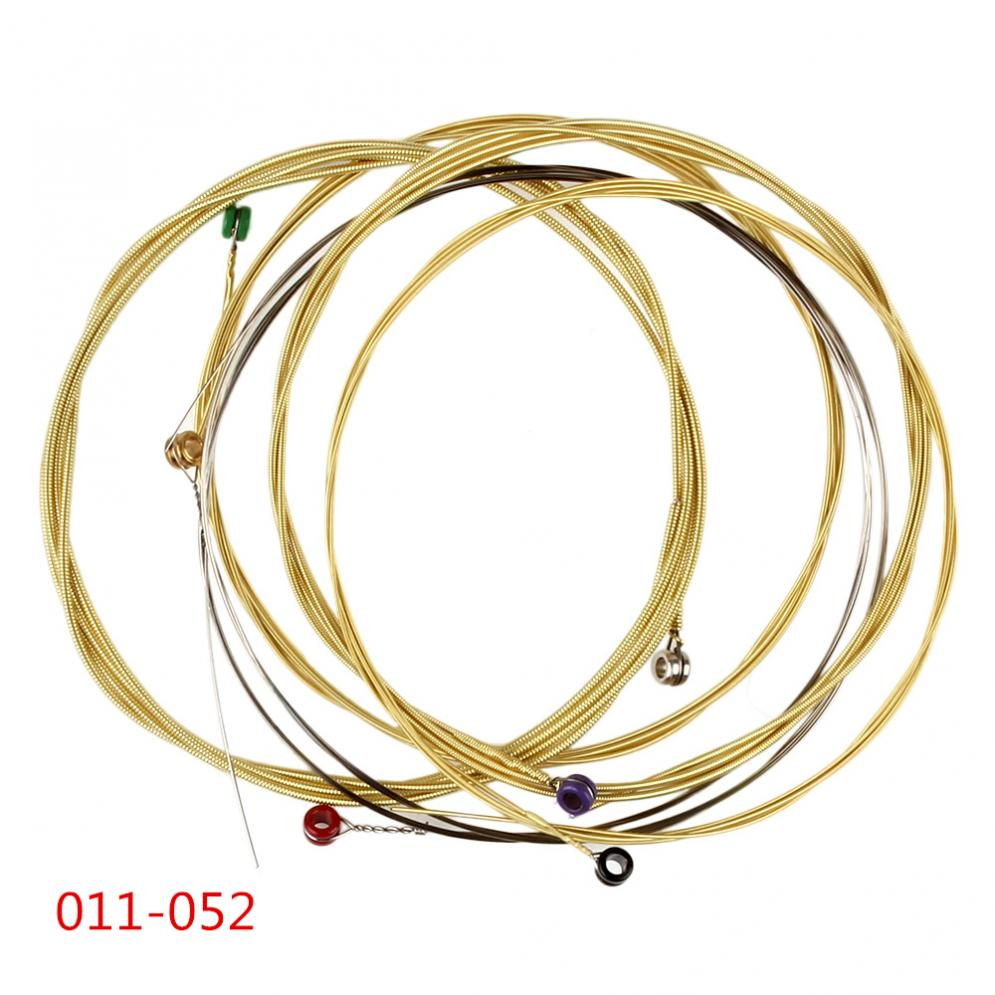 6Pcs/ Set strong durability Acoustic Guitar String 011-052 containing Phosphor Bronze Strings Full Bright Tone & Normal Light