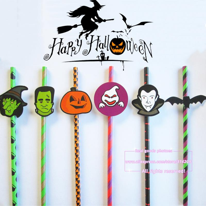 25pcs mix 6 hallowmas designs paper drinking straws with 25pcs tags hallowmas party decoration