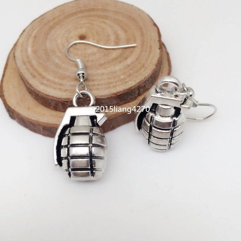 1 Pair Antique Ancient Silver 3D Military Grenade Pendant Earrings