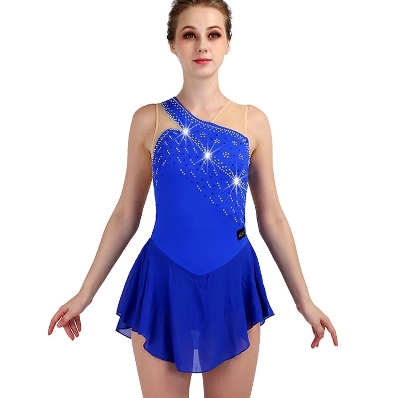 Figure Skating Dress Women New Blue Sleeveless Crystal Spandex Elasticity Girls Ice Skate Dress Professional Skating Wear ZH8035