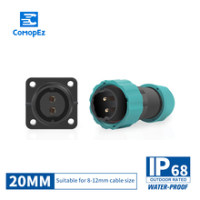 1PC  IP68 Waterproof Airline Male Female Connector 20mm diameter 2/3/4/5/6/7/9/10 pin Sealed Junction Boxes Plug Socket