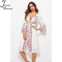 Jessie Vinson Women Deep V neck Boho Embroidery Dresses Spring and Summer Flare Sleeves Bohemian White Dress