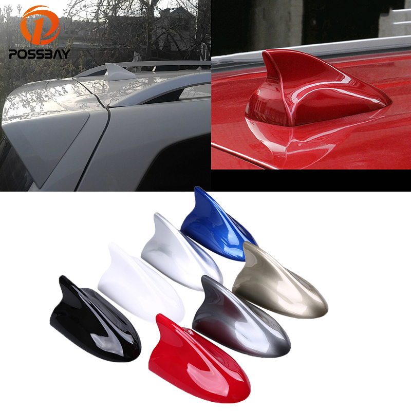 POSSBAY Shark Fin Antenna Super Signal Aerials Roof Decoration AM Radio Antennas for Skoda BMW Nissan Qashqai Side Replacement