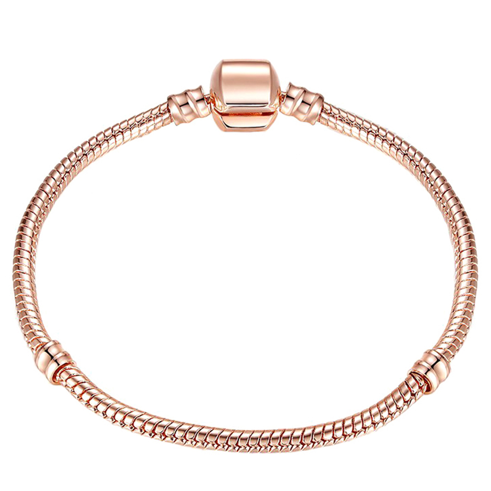 Retro Rose Gold Color Snake Chain Charm Bracelet Fit Brand Bracelets Women DIY Making Jewelry Dropshipping пандора браслет с шармами