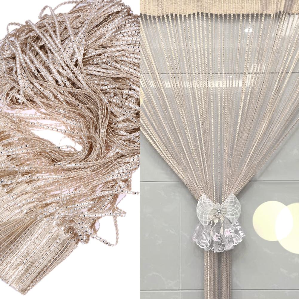 2M x 1M Silver Leather Line String Curtains Door Window Panel Curtain Divider Yarn String Curtain Strip Tassel Drape Home Decor