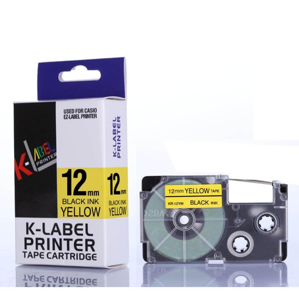 CIDY 80 piece XR-12YW Compatible Label Tape for EZ Printers XR12YW XR 12YW Black on YELLOW