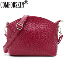 COMFORSKIN Luxurious Genuine Leather Feminine Knitting Style Messenger Bags Brand Designer High Quality Cowhide Practical